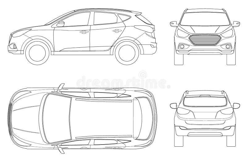 Modello di vettore dell'automobile su fondo bianco Incrocio compatto, CUV, uno station wagon di 5 porte sul profilo Vettore del m royalty illustrazione gratis
