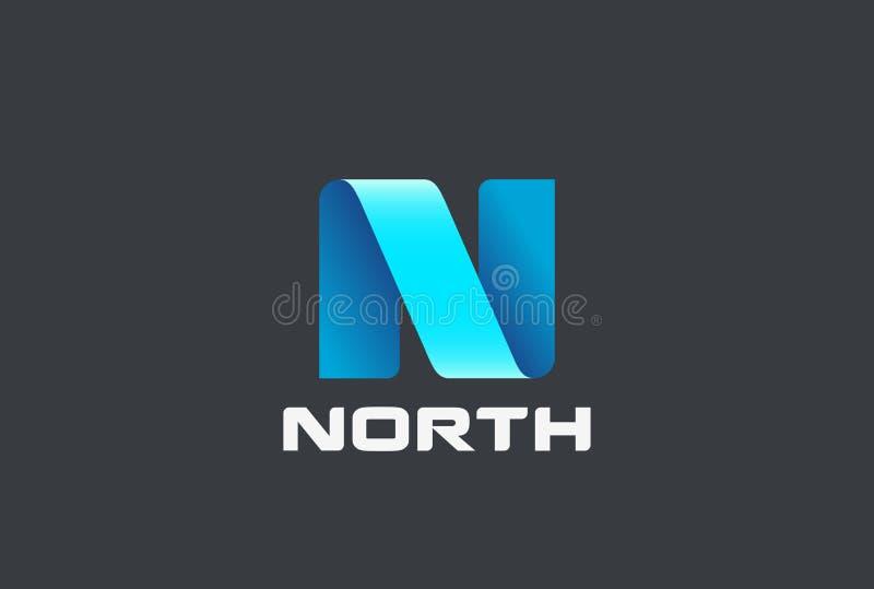 Modello di vettore dell'estratto di progettazione del nastro di logo della lettera N illustrazione vettoriale