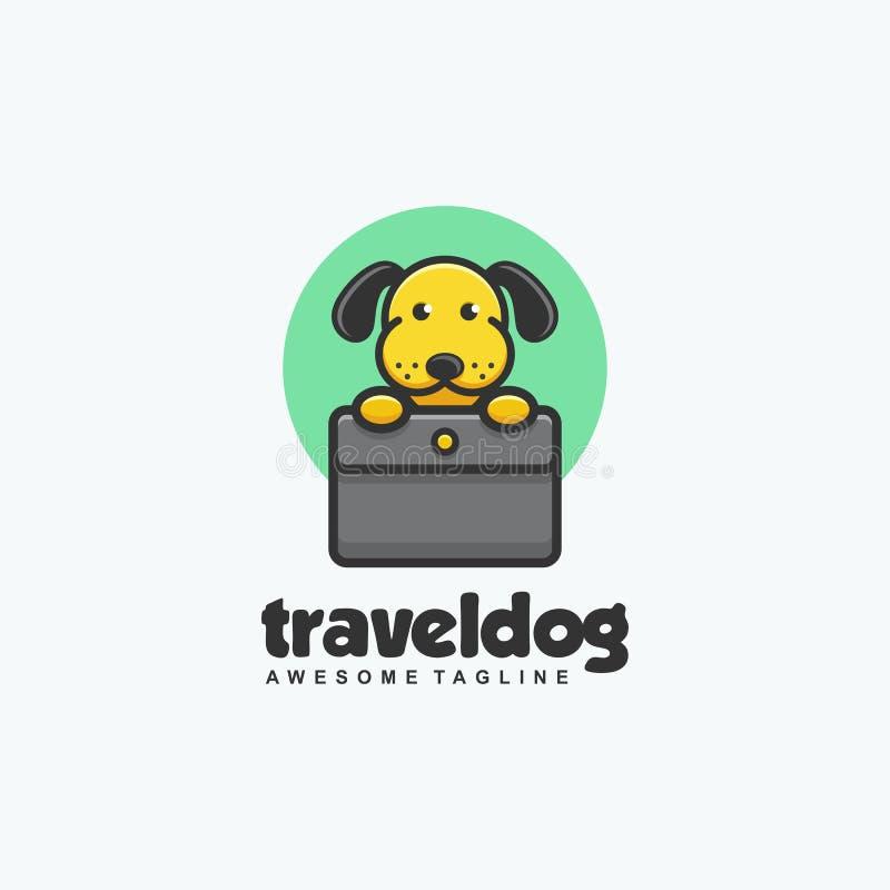 Modello di vettore dell'illustrazione di concetto del cane di viaggio illustrazione di stock