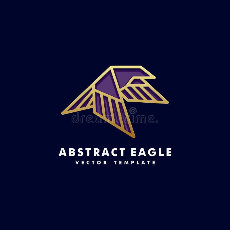 Modello di vettore dell'illustrazione di concetto dell'oro di colore di arte di Eagle Line illustrazione vettoriale