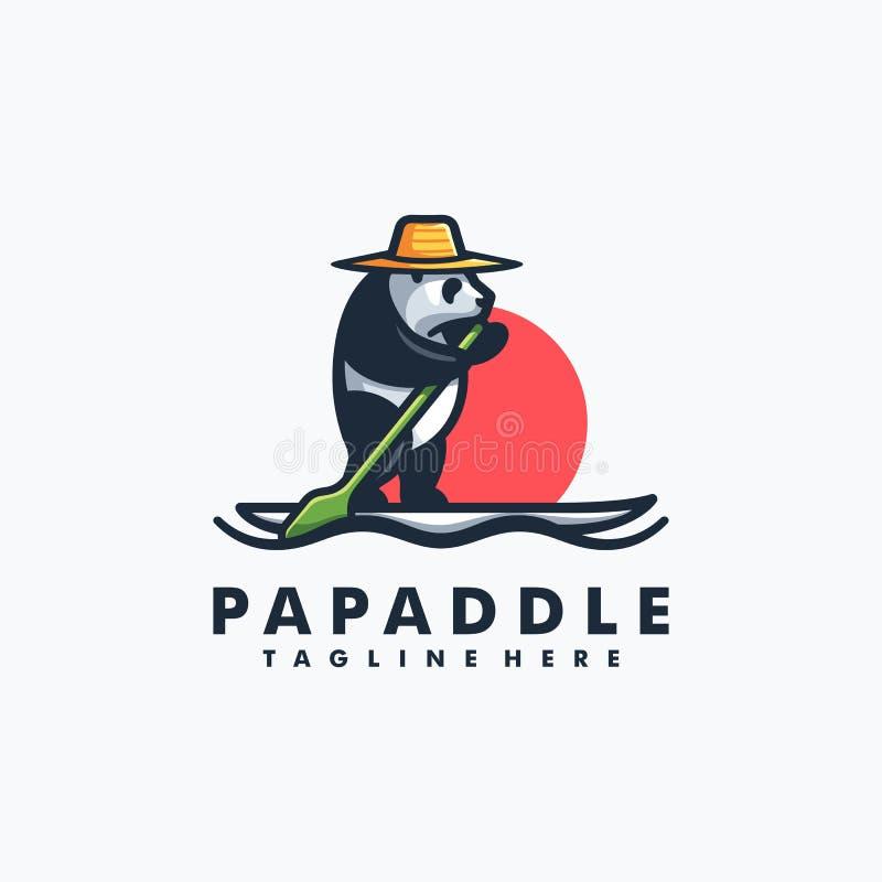 Modello di vettore dell'illustrazione di concetto di Panda Stand Paddle Design royalty illustrazione gratis