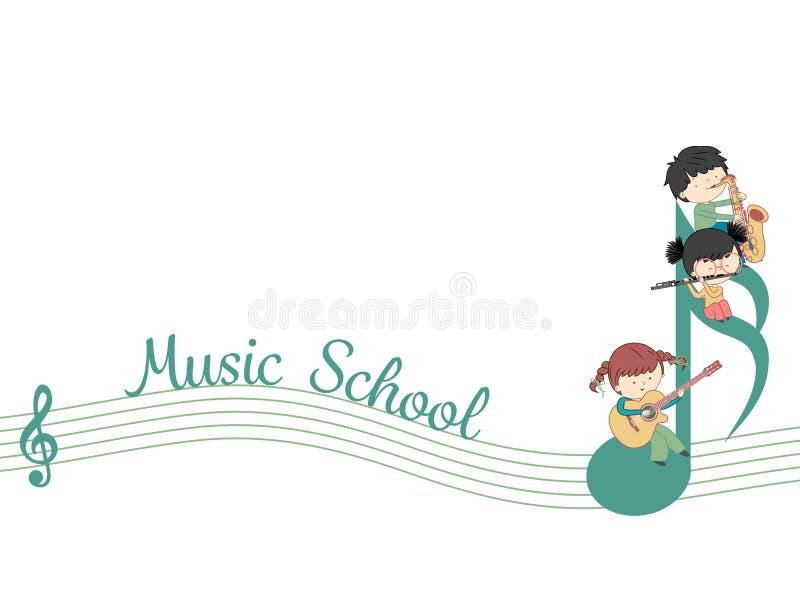 Modello di vettore dell'insegna di web della scuola di musica illustrazione vettoriale