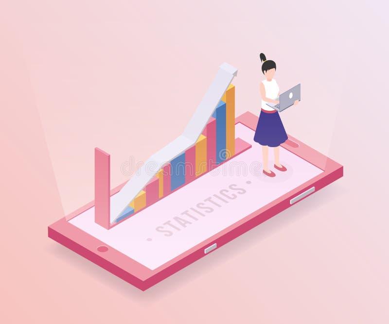 Modello di vettore dell'insegna di statistiche d'impresa Analista finanziario professionista, impiegato di concetto femminile con illustrazione di stock