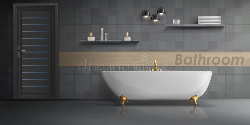 Modello di vettore dell'interno moderno del bagno illustrazione vettoriale