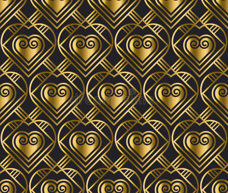 Modello di vettore dell'oro con cuore nello stile di art deco illustrazione vettoriale