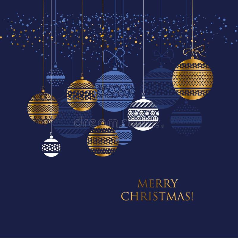 Modello di vettore della bagattella di Natale dell'oro e del blu royalty illustrazione gratis