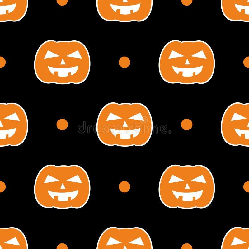 Modello di vettore delle mattonelle di Halloween con le zucche ed i pois bianchi su fondo nero royalty illustrazione gratis