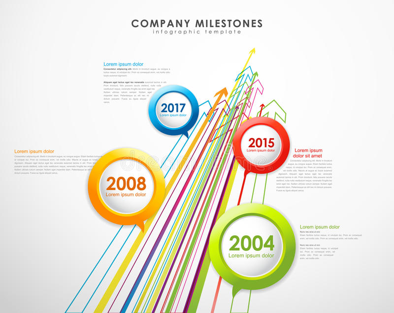 Modello di vettore di cronologia delle pietre miliari della società di Infographic royalty illustrazione gratis