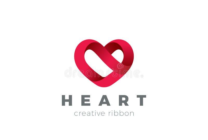 Modello di vettore di progettazione di logo del cuore Giorno di S. Valentino della st del simbolo di amore Icona medica di concet illustrazione vettoriale