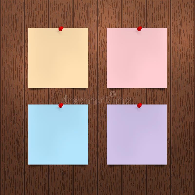 Modello di vettore I fogli di carta di colore con una spinta rossa appunta l'attaccatura su una parete di legno marrone Spazii in royalty illustrazione gratis