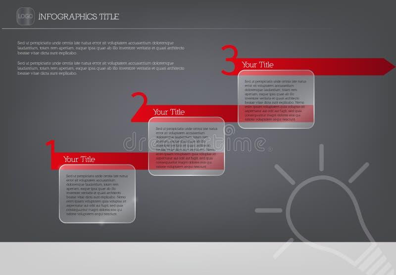 Modello di vettore di Infographics con tre punti e scatole traslucide per testo illustrazione vettoriale