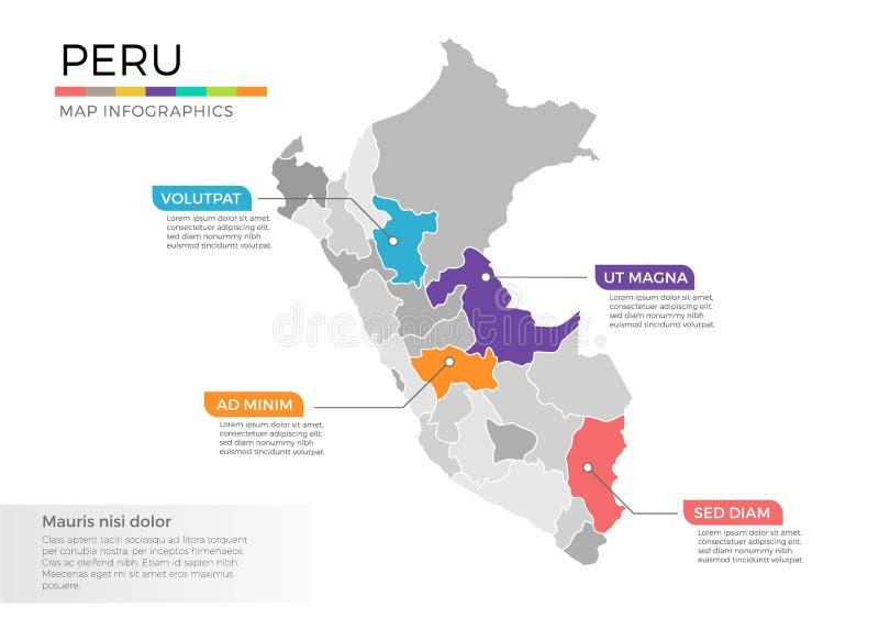 Modello di vettore di infographics della mappa del Perù con le regioni ed i segni del puntatore illustrazione di stock