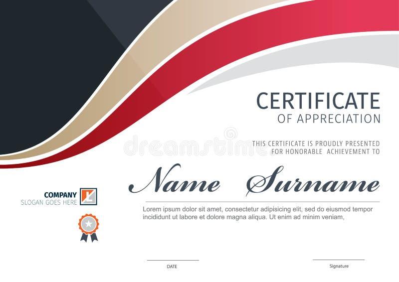 Modello di vettore per il certificato o il diploma immagine stock