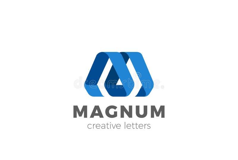 Modello di vettore di progettazione del nastro della lettera m. Logo illustrazione vettoriale