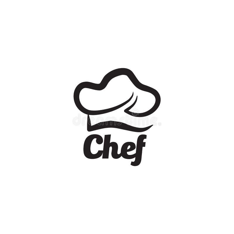 Modello di vettore di progettazione di logo del cappello del cuoco unico illustrazione vettoriale