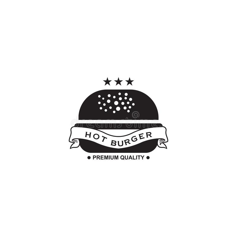 Modello di vettore di progettazione di logo del ristorante dell'hamburger illustrazione di stock