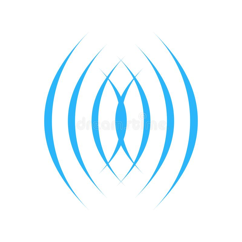Modello di vettore di progettazione di logo dell'estratto del cerchio di Wave delle cellule o del suono Icona sana di concetto de illustrazione di stock