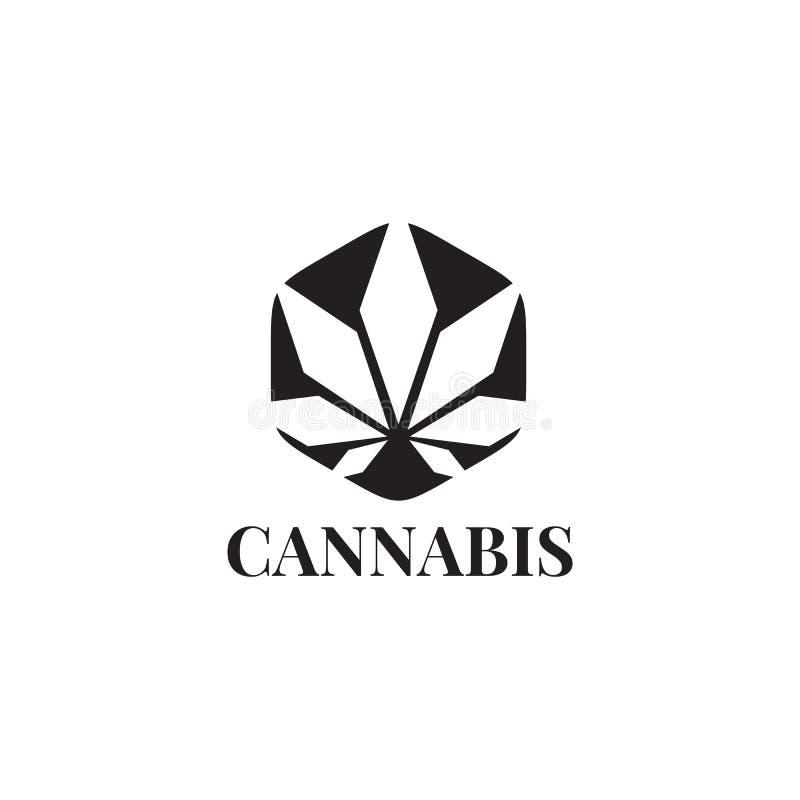 Modello di vettore di progettazione di logo della foglia della cannabis illustrazione di stock