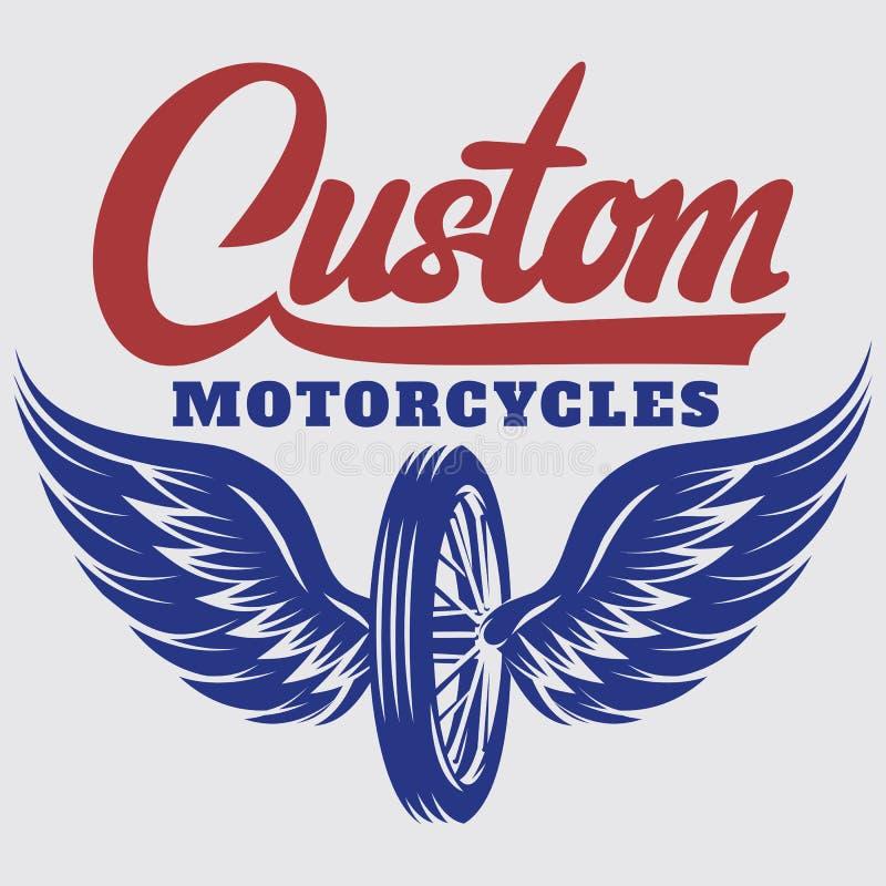 Modello di vettore sul tema del motociclo con l'iscrizione calligrafica illustrazione di stock