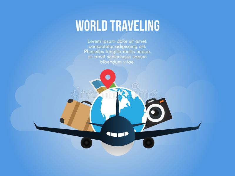 Modello di viaggio di progettazione di vettore dell'illustrazione di concetto del mondo illustrazione di stock