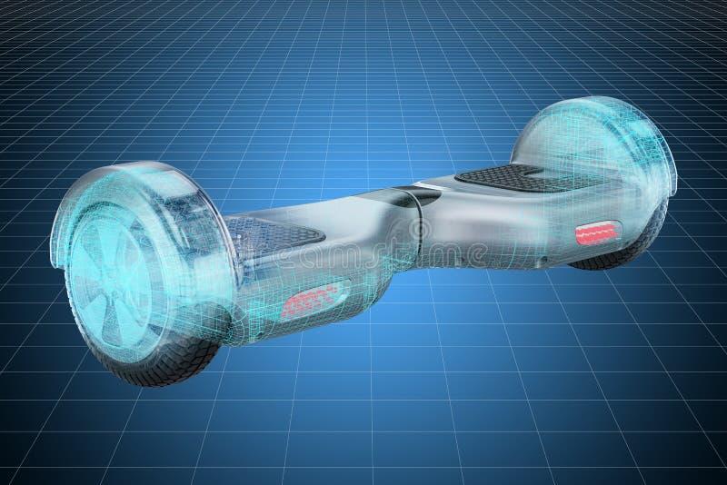 Modello di visualizzazione 3d cad del hoverboard, motorino di equilibrio rappresentazione 3d royalty illustrazione gratis