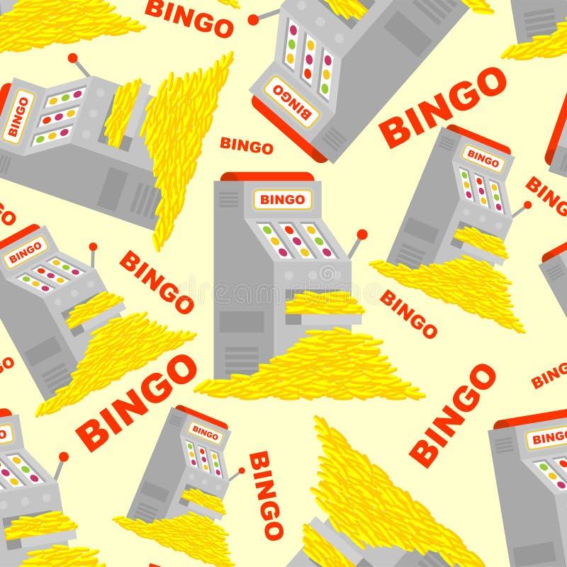 Modello di vittoria e dello slot machine senza cuciture Fondo di posta di bingo Molto soldi illustrazione di stock