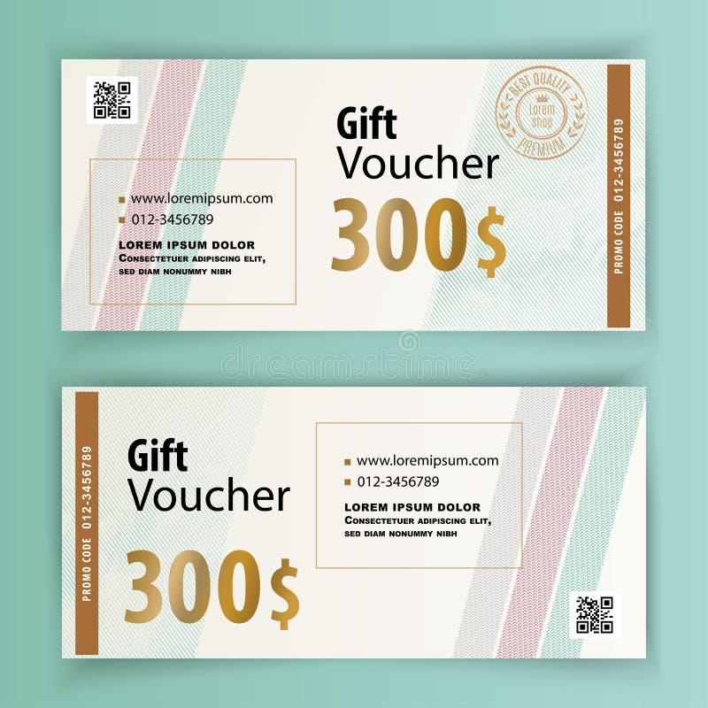 Modello di voucher con striature e elementi di progettazione dell'oro Valore 300 dollari per grandi magazzini, business illustrazione di stock
