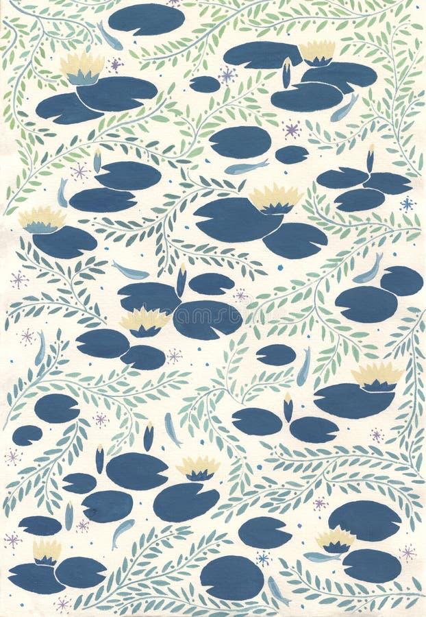 Modello di Waterlilies illustrazione di stock