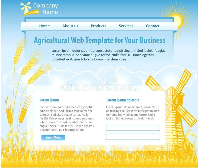 Modello di web design di tema di agricoltura illustrazione di stock