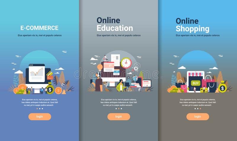 Modello di web design messo pianamente per istruzione online di commercio elettronico e la raccolta differente di compera online  illustrazione di stock
