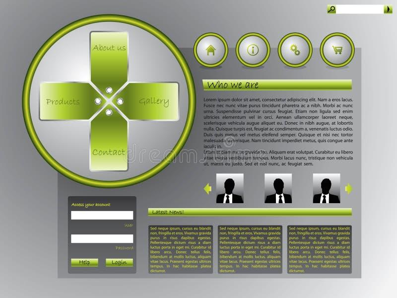 Modello di Web site con i contrassegni ed i tasti freddi illustrazione vettoriale
