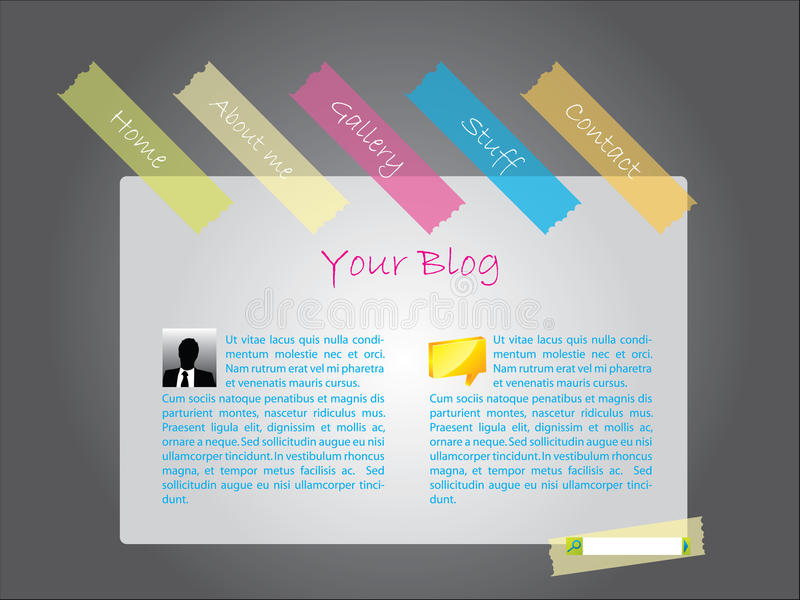 Modello di Web site con nastri adesivi illustrazione di stock