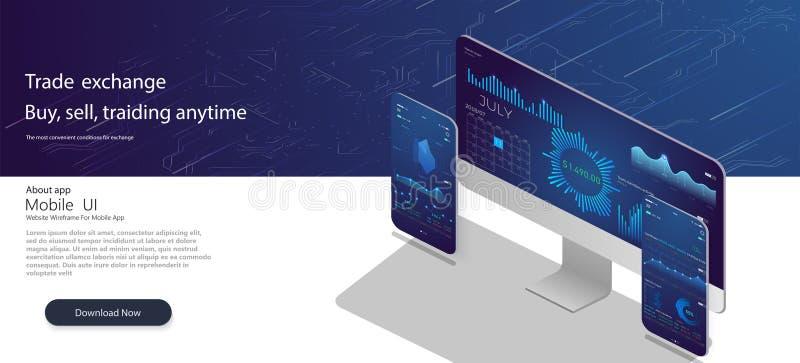 Modello di Web site I forex commercializzano, notizie e l'analisi Opzione binaria Schermo di applicazione per vendere Statistiche illustrazione vettoriale