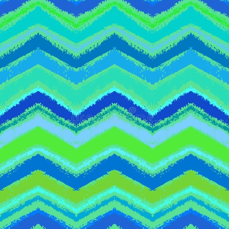 Modello di zigzag disegnato a mano in acqua blu. illustrazione di stock