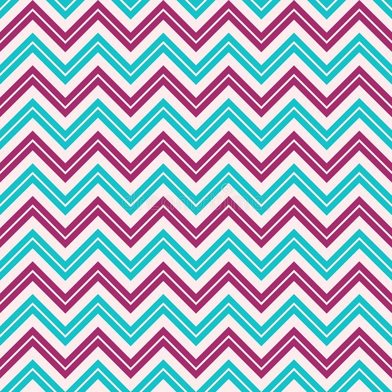 Modello di zigzag senza cuciture di modo Retro, colori pastelli Linee di colore di zigzag illustrazione vettoriale