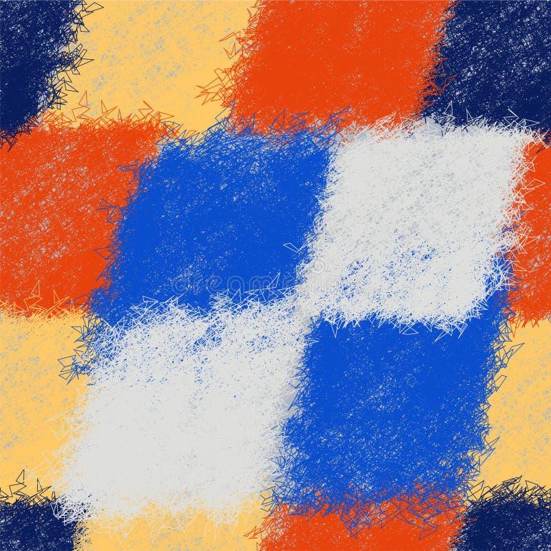 Modello diagonale della rappezzatura senza cuciture con gli elementi irsuti del tessuto variopinto royalty illustrazione gratis
