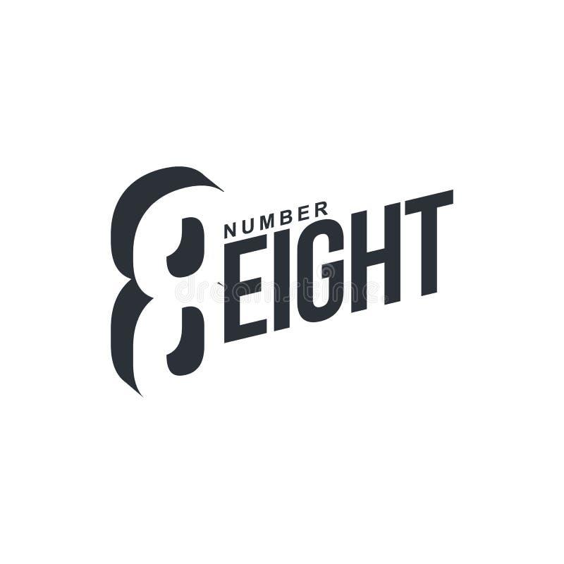 Modello diagonale di logo del eightx in bianco e nero di numero royalty illustrazione gratis