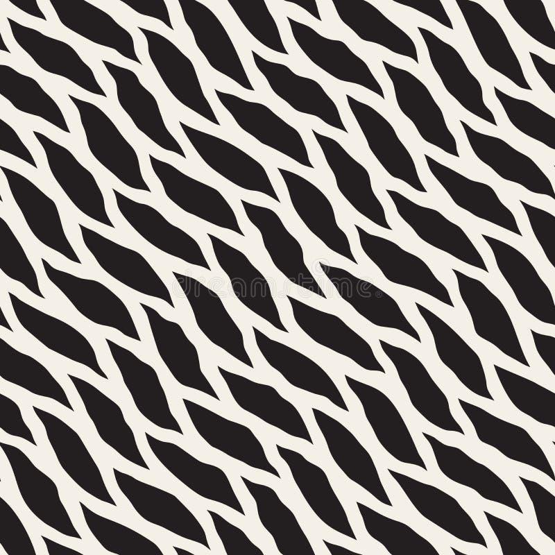 Modello diagonale disegnato a mano in bianco e nero senza cuciture di forme rotonde di vettore illustrazione di stock