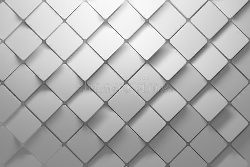 Modello diagonale fatto dei quadrati bianchi con i bordi arrotondati illustrazione di stock