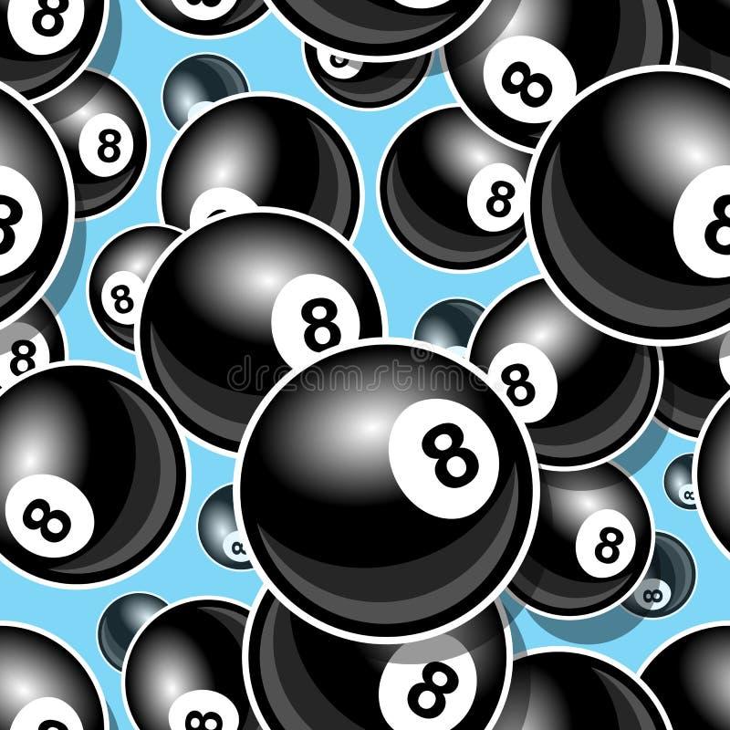 Modello digitale senza cuciture con l'icona della palla dello snooker 8 dello stagno del biliardo illustrazione vettoriale