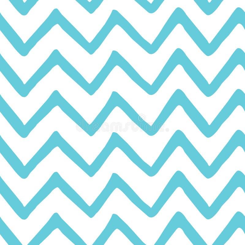 Modello dipinto a mano senza cuciture di zigzag blu-chiaro astratto Struttura del tessuto del mare della natura Fondo del gallone royalty illustrazione gratis