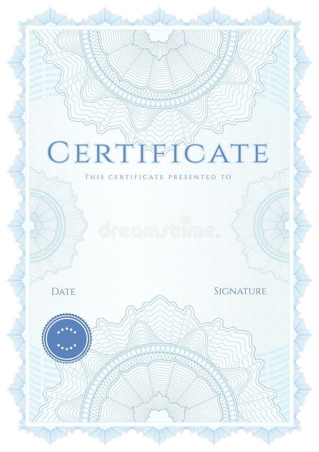 Modello diploma/del certificato. Fondo blu illustrazione vettoriale
