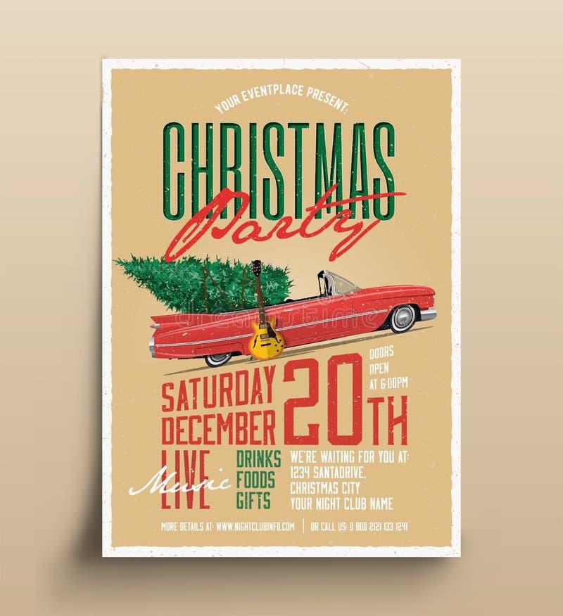 Modello disegnato d'annata dell'aletta di filatoio del manifesto della festa di Natale Illustrazione di vettore illustrazione vettoriale