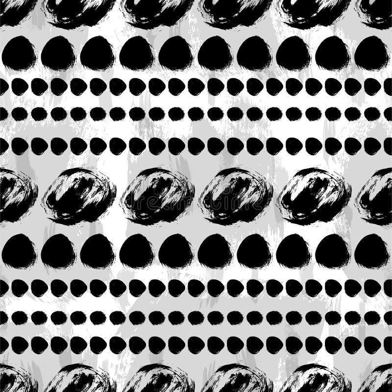 Modello disegnato a mano in bianco e nero senza cuciture illustrazione vettoriale