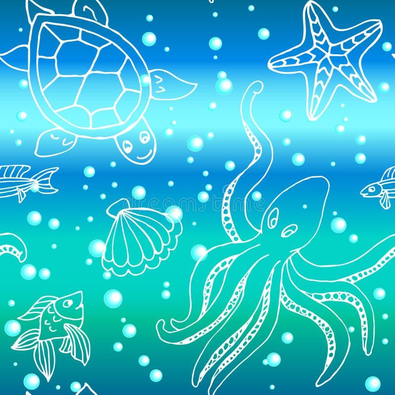 Modello disegnato a mano con differenti creature del mare illustrazione di stock