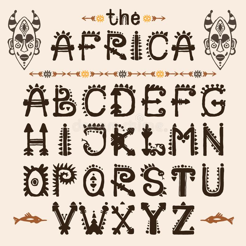 Modello disegnato a mano con il carattere tribale della fonte e maschera etnica Lettere maiuscole per la vostra progettazione, wa illustrazione vettoriale