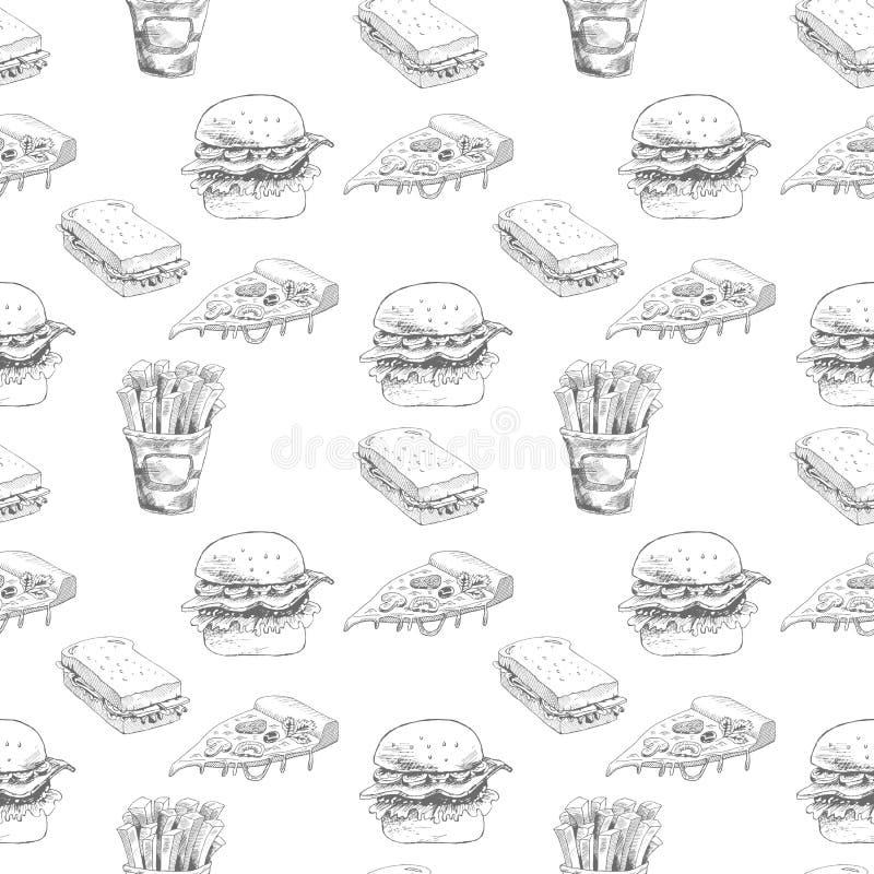 Modello disegnato a mano degli alimenti a rapida preparazione L'hamburger, pizza, patate fritte ha dettagliato le illustrazioni G illustrazione di stock