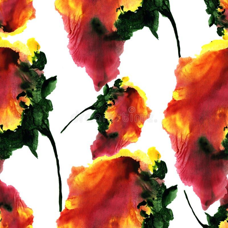 Modello disegnato a mano dell'acquerello con i fiori di fantasia illustrazione vettoriale