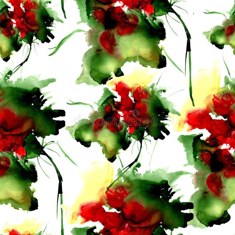 Modello disegnato a mano dell'acquerello con i fiori di fantasia Per progettazione, fondo ed il tessuto royalty illustrazione gratis
