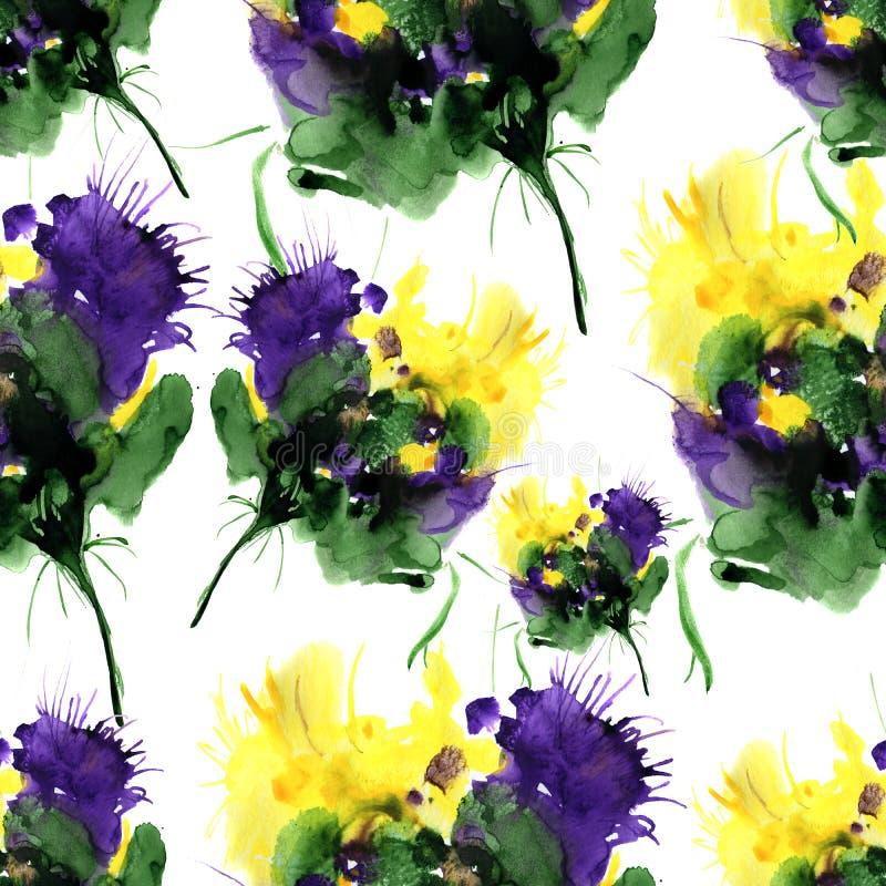 Modello disegnato a mano dell'acquerello con i fiori di fantasia Per progettazione, fondo ed il tessuto illustrazione di stock